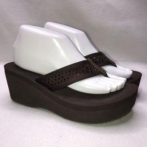 Skechers Brown Embellished Foam Wedge Flip Flops 9